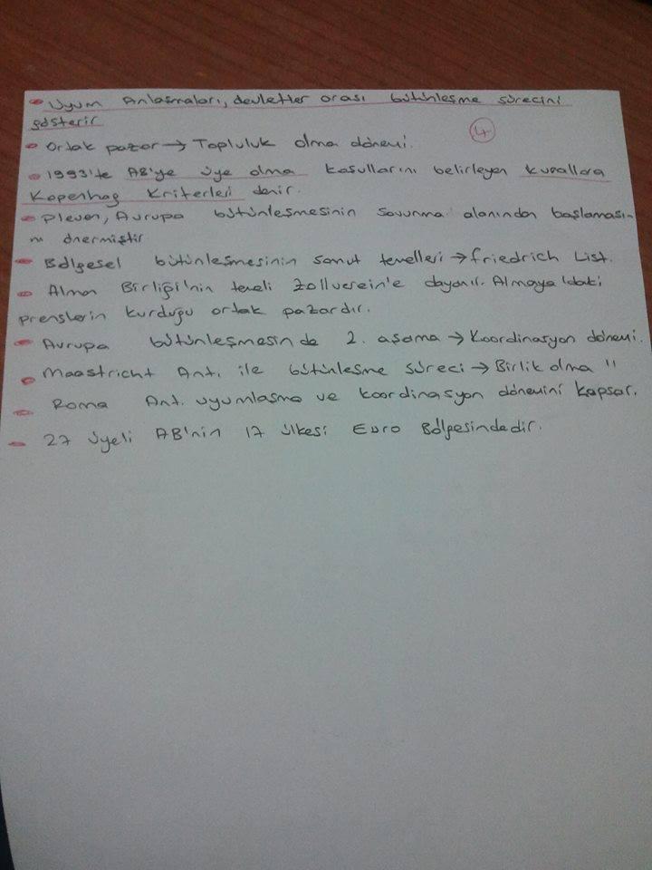 Avrupa Birliği ve Türkiye İlişkileriÜnite 3-4 Ders Notları