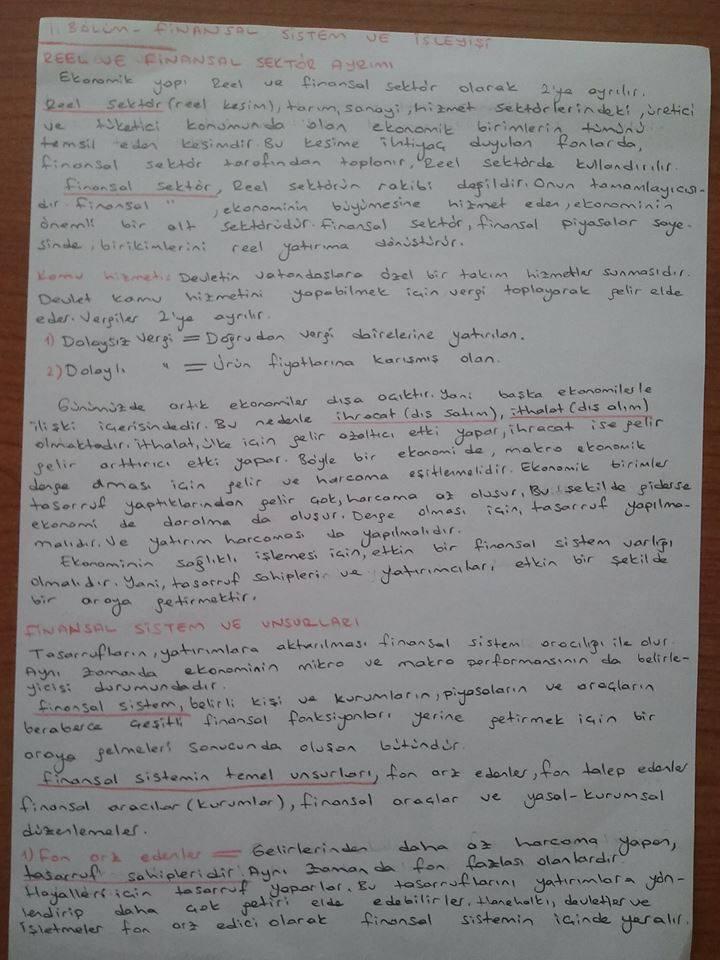 Finansal EkonomiÜnite 1 Ders Notları