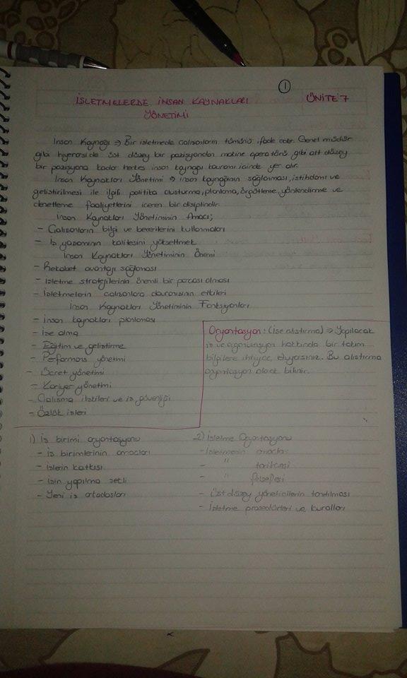 Genel İşletme - Ünite 7 Ders Notları
