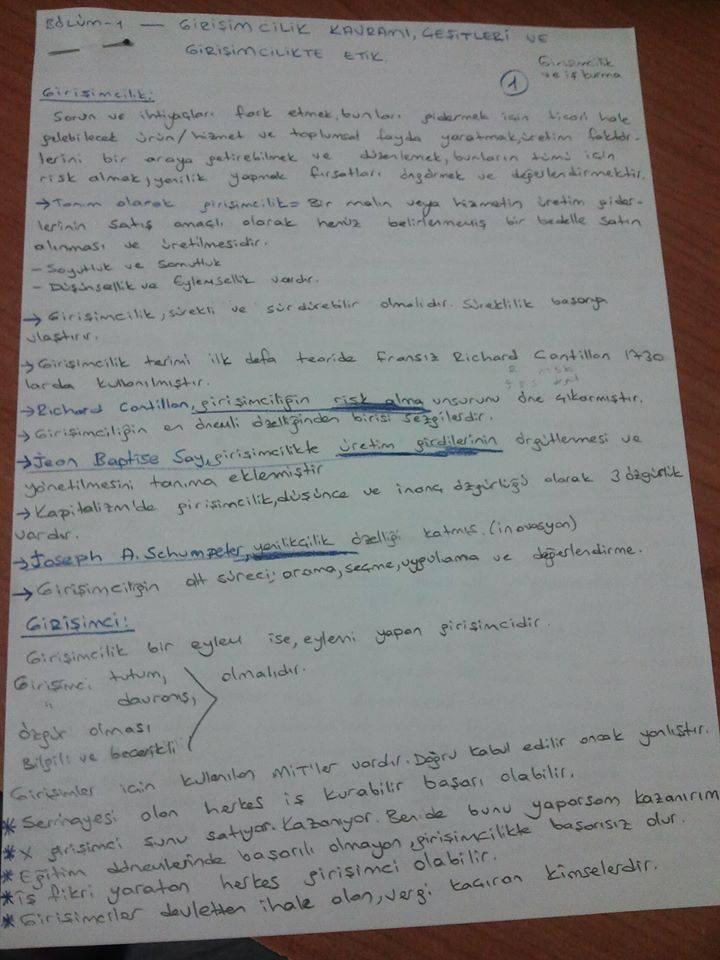 Girişimcilik ve İş Kurma - Ünite 1 Ders Notları