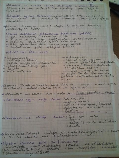 Hizmet Ekonomisi - Ünite 1 Ders Notları
