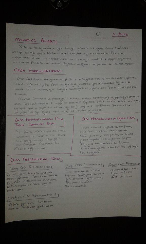 Sanayi Ekonomisi - Ünite 5 Ders Notları