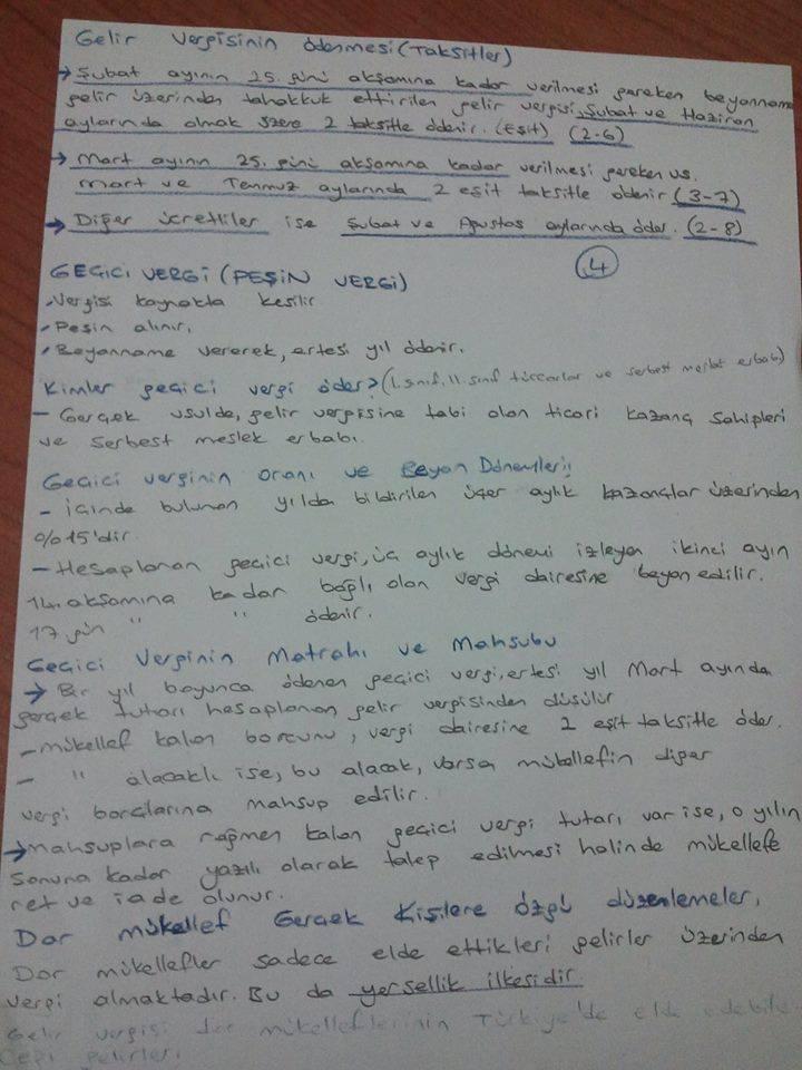 Türk Vergi Sistemi - Ünite 4 Ders Notları