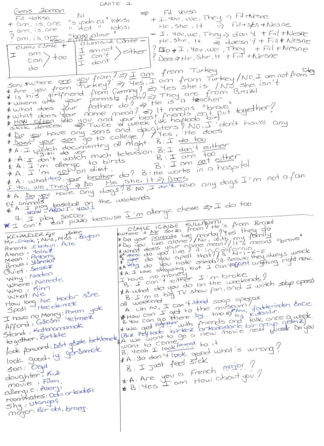 İngilizce 2 Ünite 1-2-3 Ders Notları