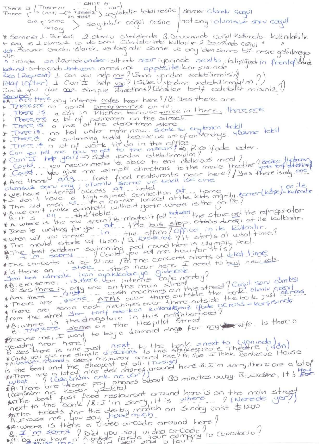 İngilizce 2 Ünite 4-5-6 Ders Notları