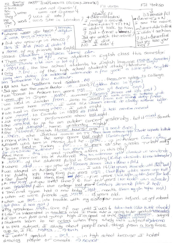 İngilizce 2 - Ünite 4 - 5 - 6 Ders Notları