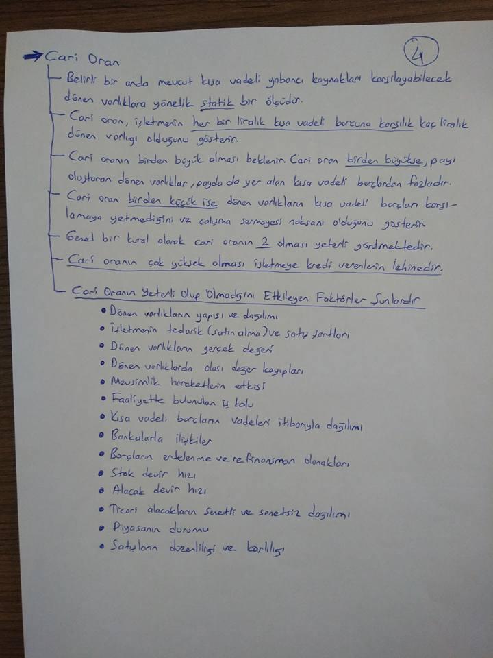 Finansal Yönetim Final Çalışması Ders Notları