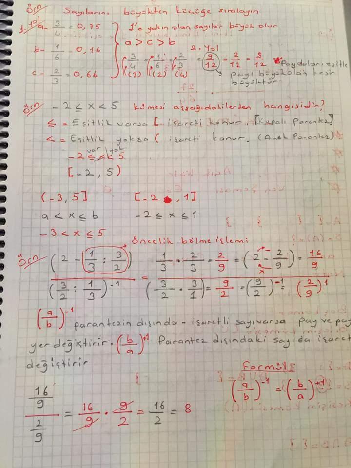 Matematik 1 Ünite 1 Ders Notları