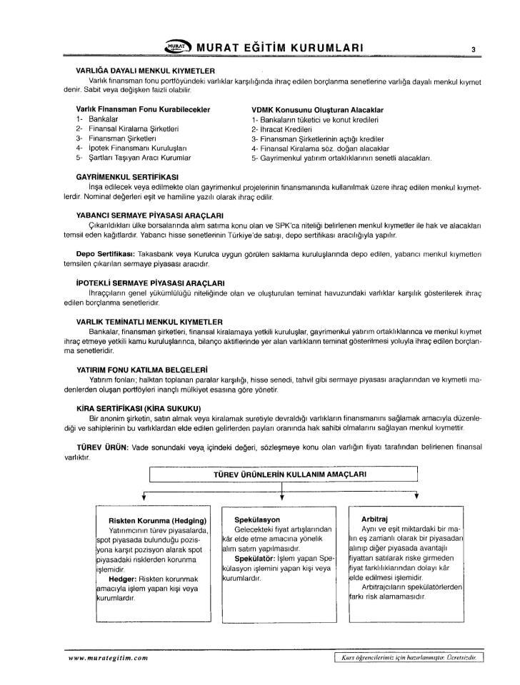 Sermaye Piyasaları ve Finansal Kurumlar - Ünite 5-6-7-8 Ders Notları