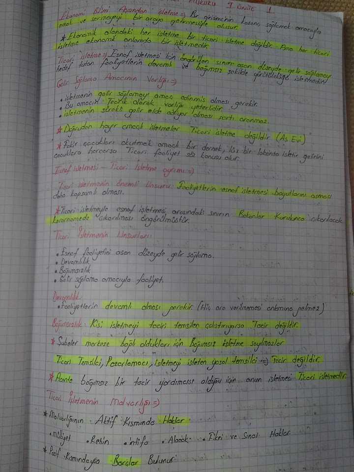 Ticaret Hukuku - Ünite 1 Ders Notları