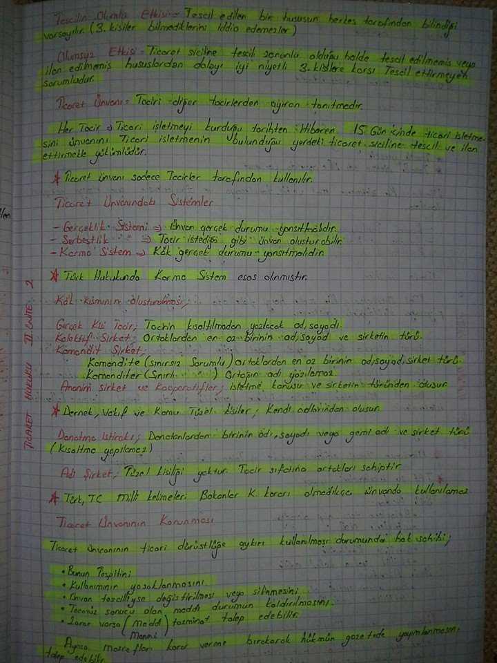 Ticaret Hukuku - Ünite 2 Ders Notları