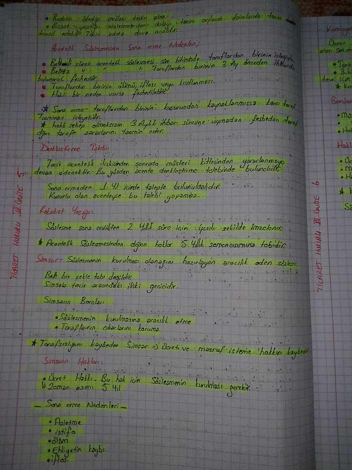 Ticaret Hukuku - Ünite 3 Ders Notları