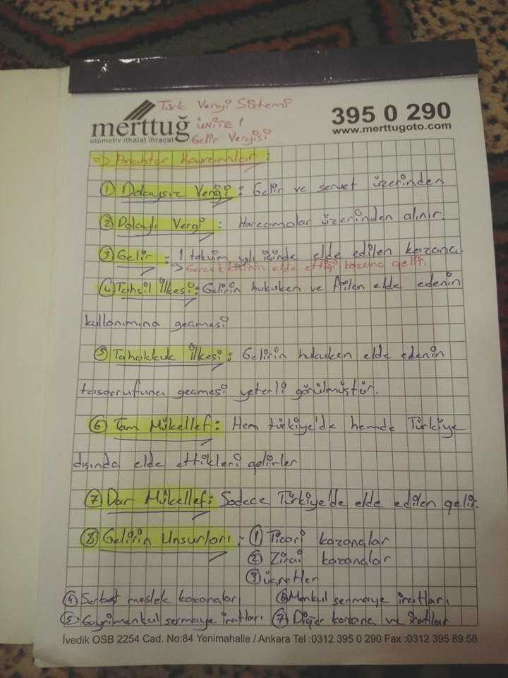 Türk Vergi Sistemi - Ünite 1-4 Ders Notları