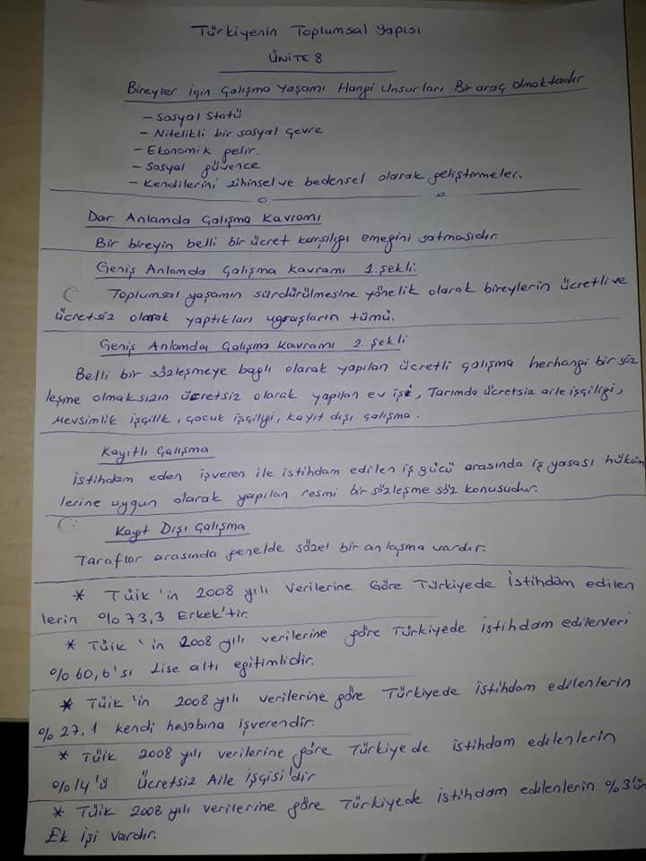 Türkiye'nin Toplumsal Yapısı - Ünite 8 Ders Notu
