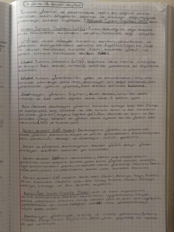 Destinasyon Yönetimi Ders Notları