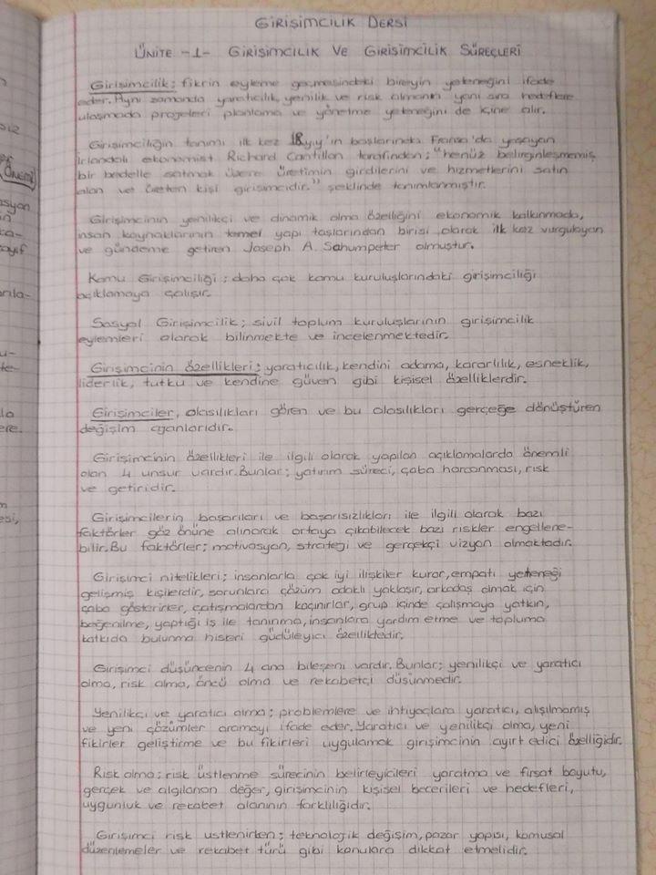 Girişimcilik - Ünite 1-4 Ders Notları