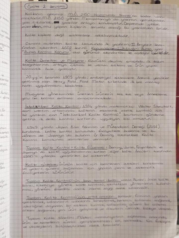 Kalite Yönetimi - Ünite 1-4 Ders Notları