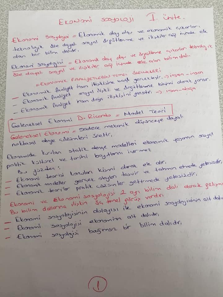 Ekonomi Sosyolojisi - Ünite 1 Ders Notları