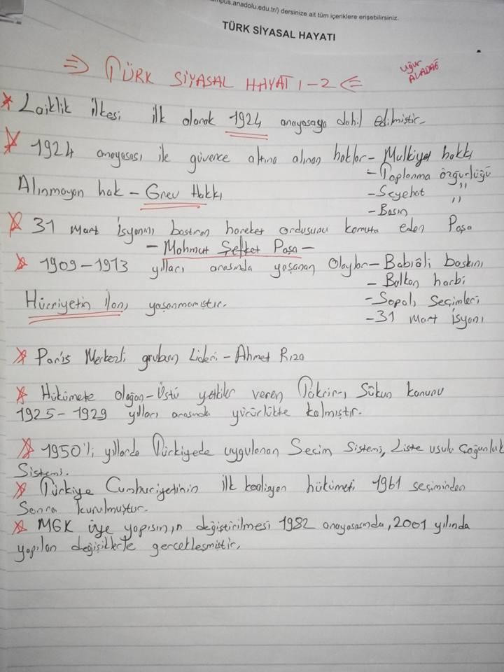 Türk Siyasal Hayatı Ders Notları