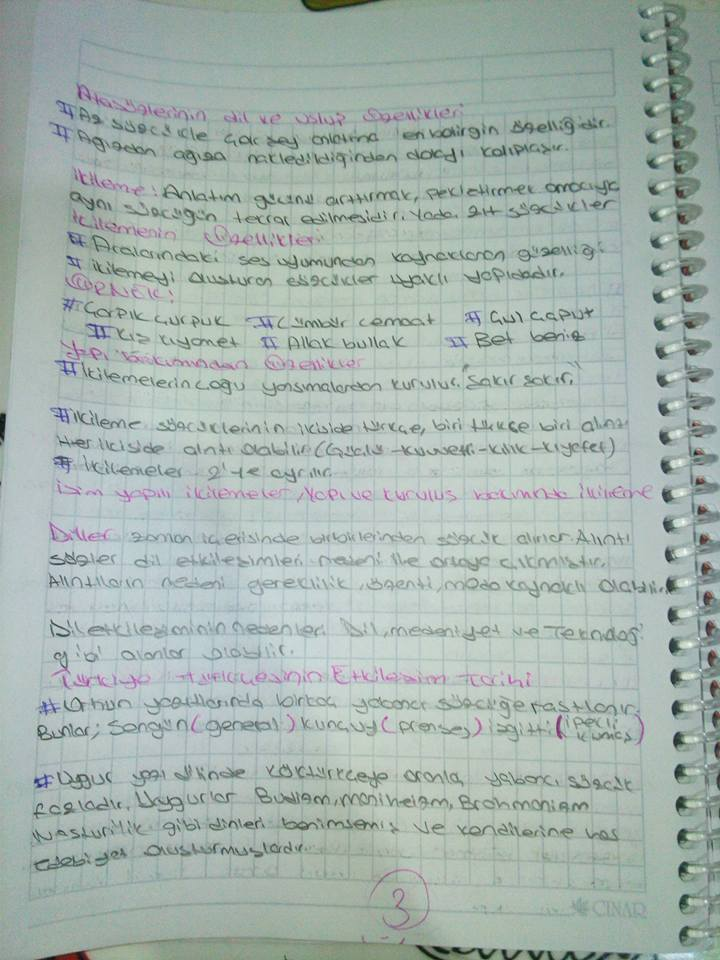 Türk Dili 5-6-7. Ünite Ders Notları