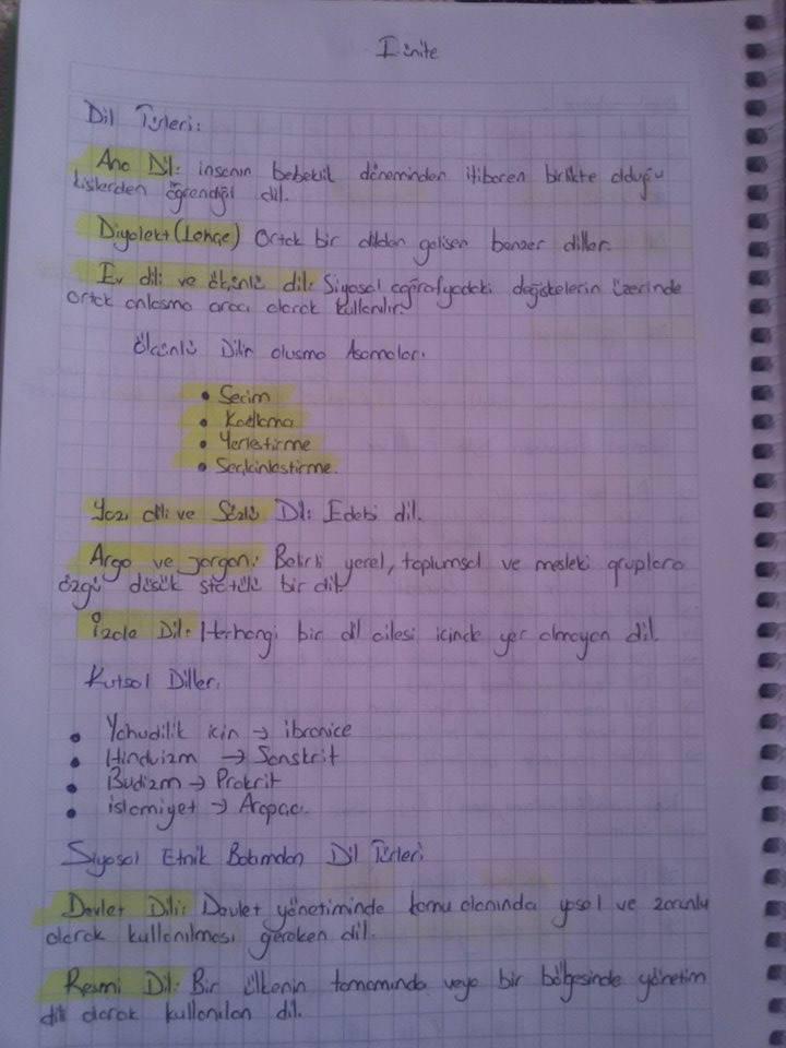Türk Dili 1 - Ünite 1 Ders Notları