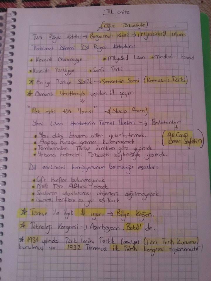 Türk Dili 3. Ünite Ders Notları
